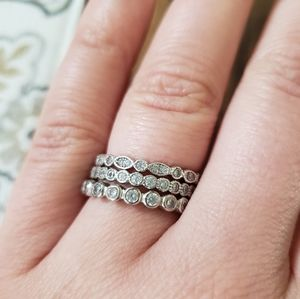 Set of 3 stackable CZ sterling silver rings size 7
